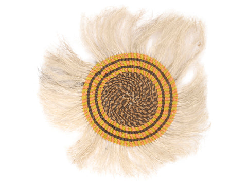 HII: Small Orange, Yellow and Black Fringed Wall Hanging: 23cm Dia