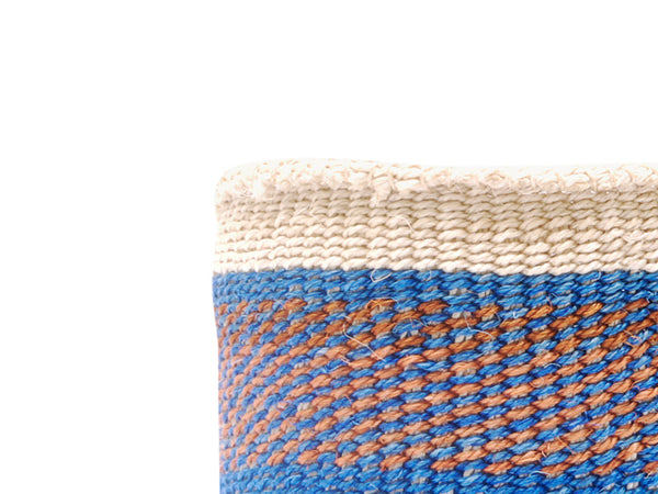 ASANTE: Small Brown with Green Stripes Sisal Basket