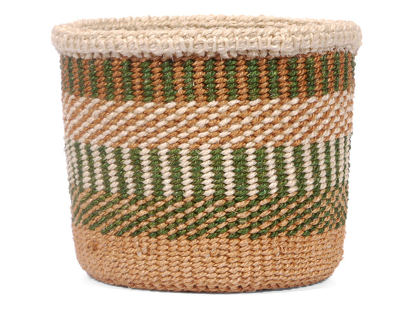 INGEKUWA: Extra Small Green, White and Brown Sisal Basket