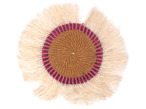 JANI: Small Brown, Pink and Black Fringed Wall Hanging: 22cm Dia