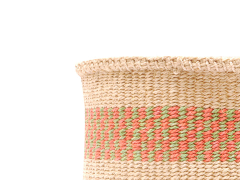 BAHARI: Small Red with Stripes Sisal Basket