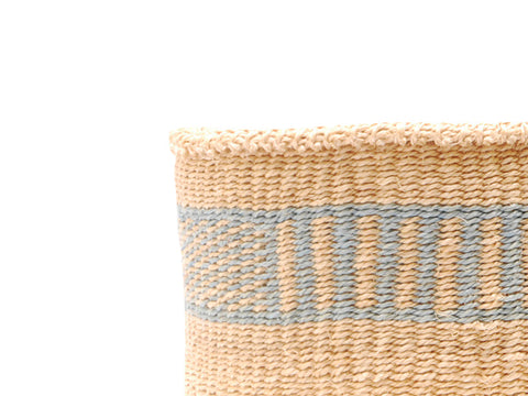 BARIDI: Small Brown and White Sisal Basket