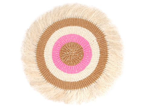 KARIBU: Small Brown, Pink and White  Fringed Wall Hanging: 20cm Dia