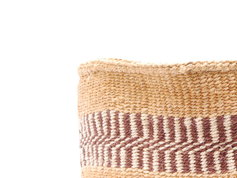 BEI: Small Brown Striped Sisal Basket