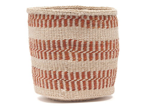 BIBI: Small Brown Striped Sisal Basket