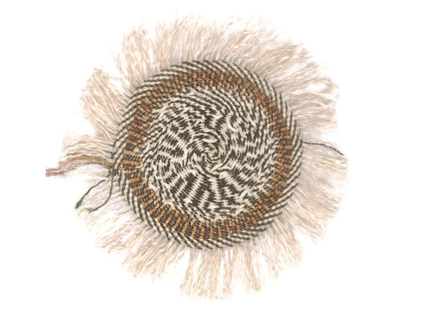 MAMA: Small Brown, Black and Beige Fringed Wall Hanging: 22cm Dia