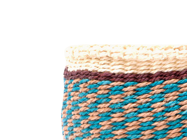 CHUNGA: Small Red and Brown Sisal Basket