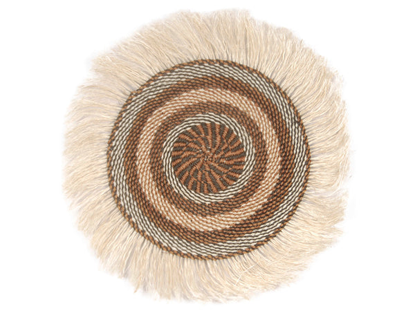 MWILI: Medium Brown and Beige Fringed Wall Hanging: 31cm Dia