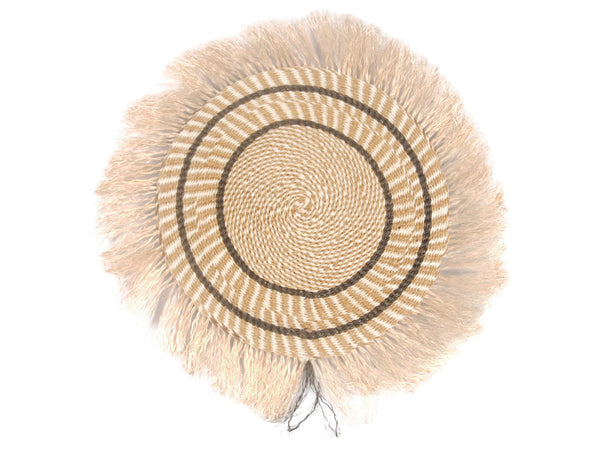 MZIZI: Medium Brown and Beige Fringed Wall Hanging: 29cm Dia