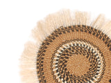 NJOO: Medium Brown and Beige Fringed Wall Hanging: 27cm Dia