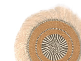SHAMBA: Medium Brown and Beige Fringed Wall Hanging: 29cm Dia