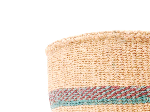 FARASI: Extra Small Pink and Brown Sisal Basket
