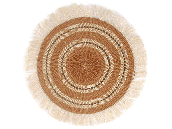 SHINGO: Large Brown and Beige Fringed Wall Hanging: 38cm Dia