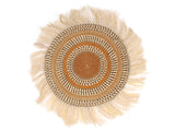 SUFURI: Large Brown and Beige Fringed Wall Hanging: 42cm Dia