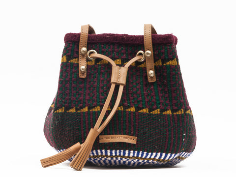 TARUMBETA: Handwoven Dark Green and Burgundy Bucket Bag