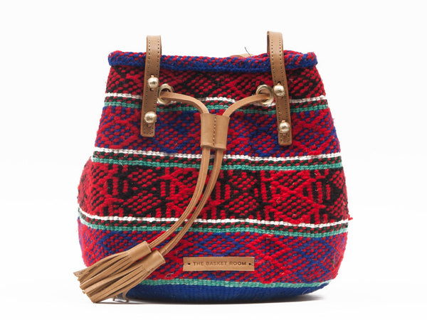 MWIKO: Handwoven Red and Blue Bucket Bag
