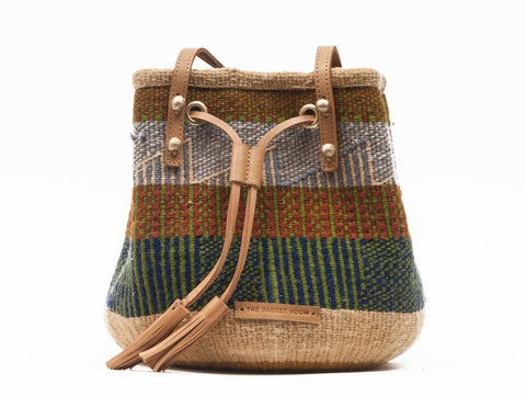 YAI: Handwoven Brown, Blue and Green Bucket Bag