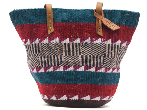 PENDA: Handwoven Green and Red Wool Tote Bag