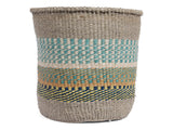 ZAIDI: Large Blue, Yellow and Orange Sisal Basket