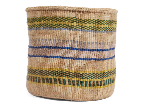 ZURURA: Large Blue, Green and Yellow Sisal Basket