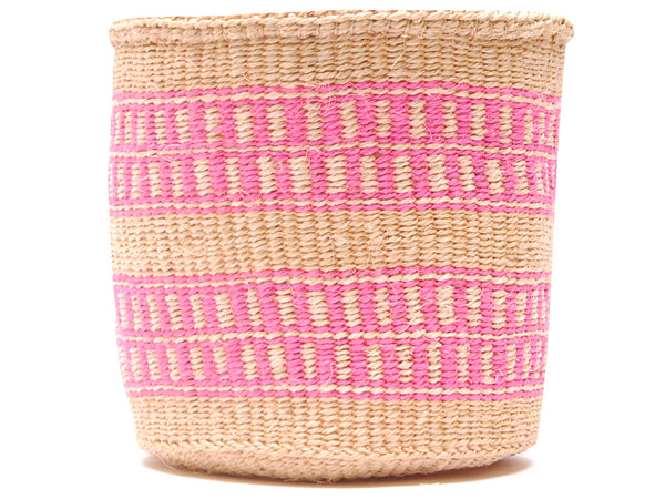 BADILIKA: Handwoven Black and Pink Wool Tote Bag