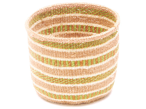 DENI: Green and Black Striped Bread Basket - Sisal Basket - The Basket Room