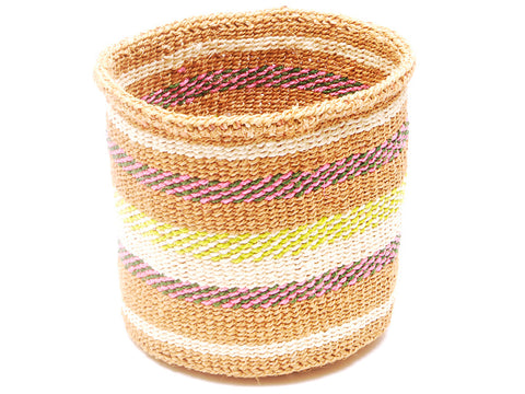 NUNUA: Black and Yellow Striped Bread Basket