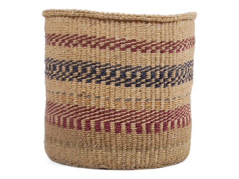 VUMBI: Large Navy, Grey and Maroon Sisal Basket