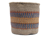MWISHOWE: Large Blue, Brown and Pink Sisal Basket