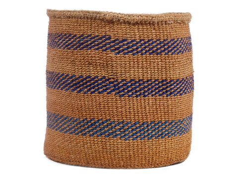 VUNJA: Medium Blue Pattern Sisal Basket