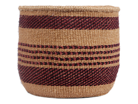 WAO: Medium Purple and Burgundy Sisal Basket