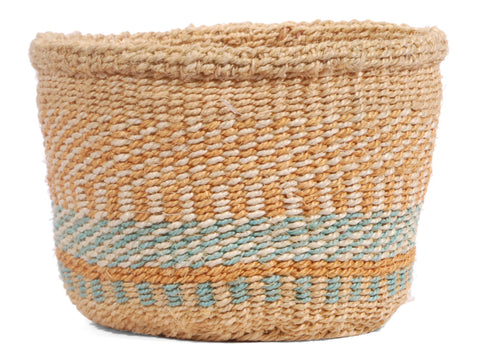 YUDA: Extra Small Beige and Blue Sisal Basket