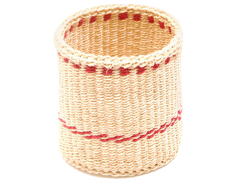 KIKAPU: Blue and Black Checkered Striped Bread Basket - Sisal Basket - The Basket Room