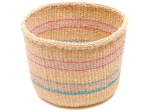 AKILI: Green and Yellow Checkered Stripe Bread Basket - Sisal Basket - The Basket Room