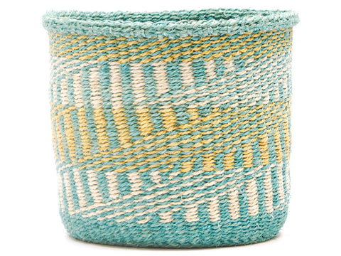 KIFARU: Two Tone Green Striped Bread Basket - Sisal Basket - The Basket Room