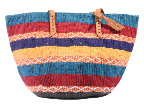 ANDAA: Handwoven Orange, Blue and Red Wool Tote Bag