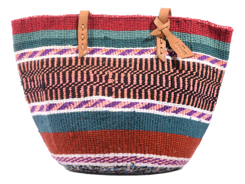 ANGALIA: Handwoven Teal, Pink and Red Wool Tote Bag