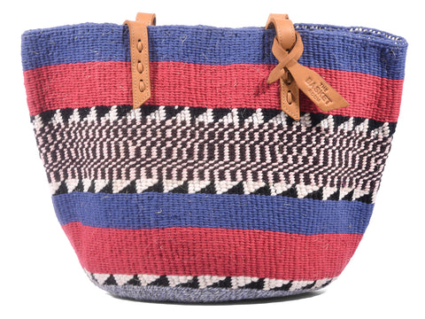 ASUBUHI: Handwoven Blue and Red Wool Tote Bag