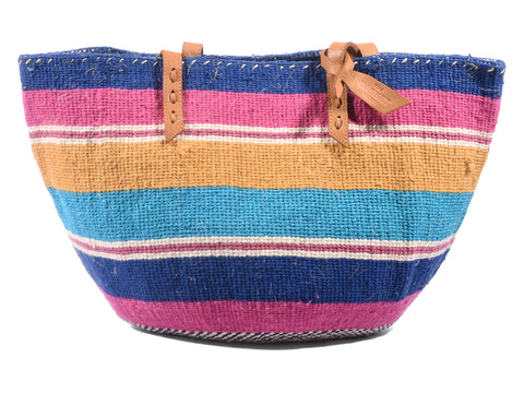 BAKI: Handwoven Blue and Pink Wool Tote Bag