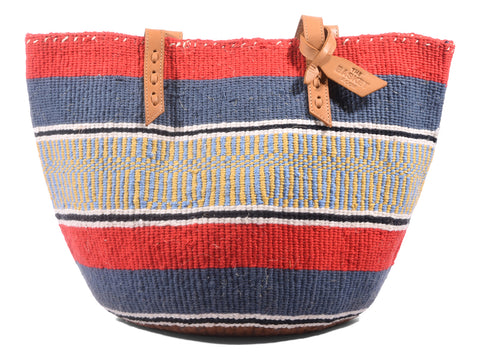 BARABARA: Handwoven Grey and Coral Wool Tote Bag