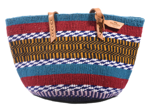 BIBI: Handwoven Teal, Navy and Gold Wool Tote Bag