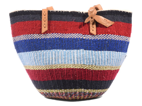 CHESHA: Handwoven Blue, Red and Black Wool Tote Bag
