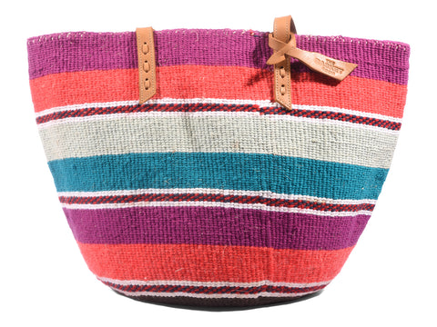 CHINGA: Handwoven Orange, Pink and Teal Wool Tote Bag