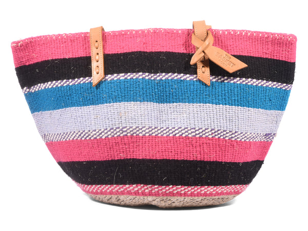 KAZA: Handwoven Blue, Pink and Black Wool Tote Bag