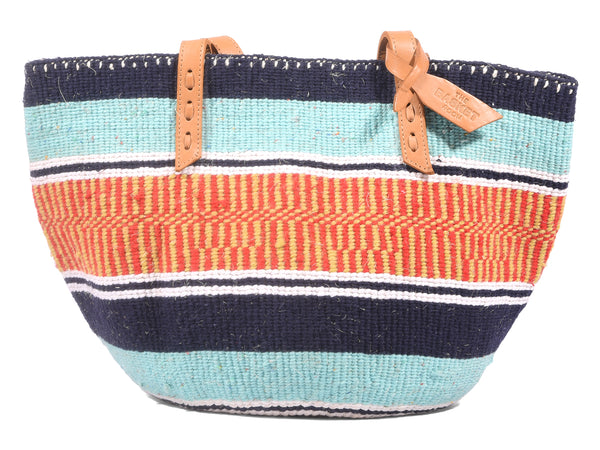 KEJA: Handwoven Light Blue, Yellow and Red Wool Tote Bag