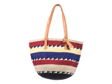 KIMA: Handwoven Beige, Blue and Red Wool Tote Bag