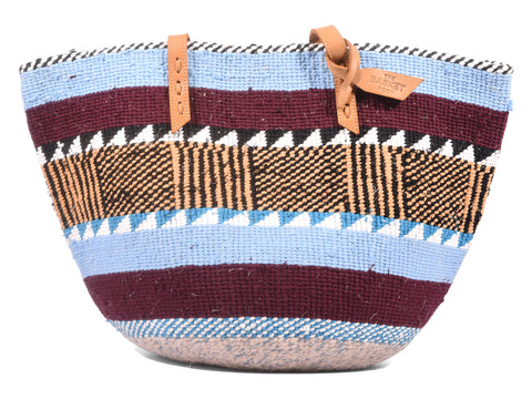 LINDA: Handwoven Maroon, Blue and Yellow Wool Tote Bag