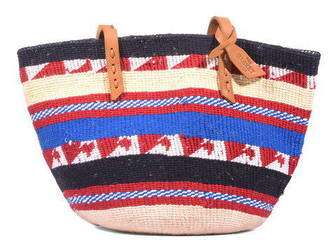 MJINI: Handwoven Red, Blue and Cream Wool Tote Bag