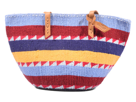 MVULANA: Handwoven Purple, Yellow and Red Wool Tote Bag