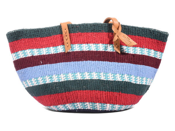 MWANGAZA: Handwoven Teal, Blue and Red Wool Tote Bag